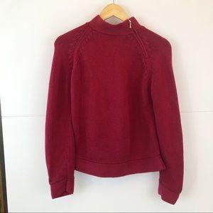 Talbots   Red Knit Sweater Zipper Size Medium